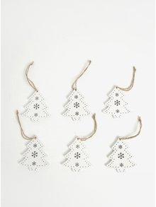 Sada šesti kusů dřevěné závěsné dekorace ve tvaru stromků v bílé barvě Dakls