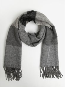 Sivo-čierny melírovaný šál so strapcami Pieces Anne