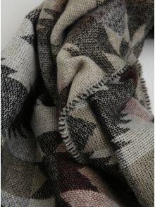 Čierny vzorovaný šál so strapcami Pieces Sandie
