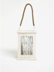 Felinar alb din lemn, metal si sticla cu ramurele decorative - Dakls
