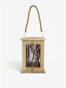 Felinar maro din lemn si sticla cu ramurele decorative - Dakls