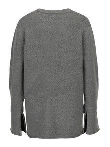 Sivý dámsky oversize sveter s uzlami na rukávoch Broadway Shahla