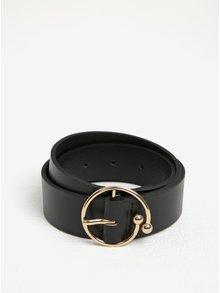 Černý kožený pásek s kulatou sponou Pieces Olivia
