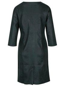 Tmavozelené koženkové šaty s 3/4 rukávom Yest