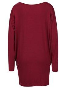 Vínové voľné tričko s dlhým rukávom Yest
