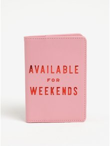 Růžové pouzdro na doklady s potiskem ban.dō Available for weekends