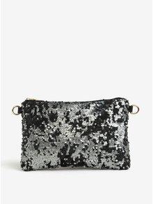 Čierny lístoček/malá crossbody kabelka s flitrami Haily's Carla