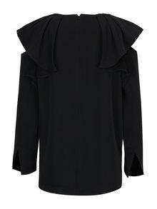 Černá halenka s průstřihy na ramenou a volány Selected Femme Kassia