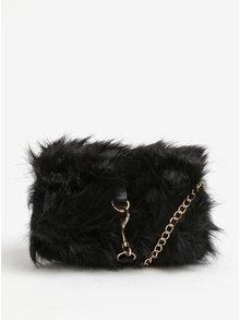 Čierna crossbody kabelka s umelou kožušinou Pieces Oksana