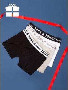 Set de trei perechi de boxeri negru, alb si gri - Jack & Jones Sense