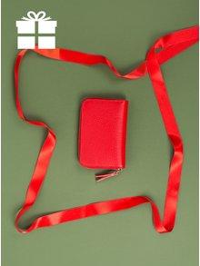 Červená kožená malá peněženka na zip ZOOT