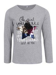 Svetlosivé dievčenské tričko s flitrami name it Happa
