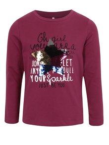 Vínové dievčenské tričko s flitrami name it Happa