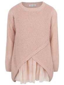 bf8590005f40 Ružový dievčenský prekladaný sveter name it Imdia