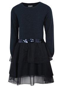 Tmavomodré svetrové šaty s tylovou sulňou name it Palukka