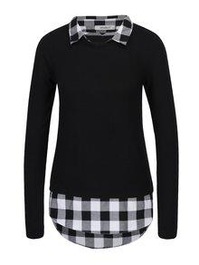 Černý top s všitou kostkovanou košilí Haily´s Linda