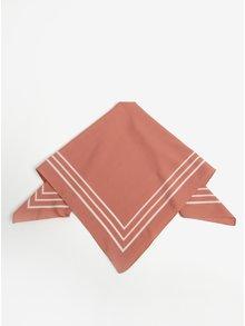 Růžový šátek s pruhy Pieces Rachel