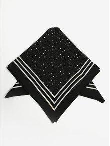 Černý vzorovaný šátek s pruhy Pieces Rachel