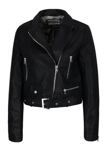 Jacheta biker neagra cu aspect de piele -  Haily's Adele