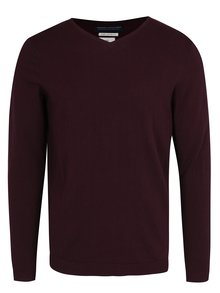 Pulover bordo cu decolteu anchior Jack & Jones Luke Premium