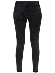 Tmavě šedé zkrácené slim fit džíny s potrhaným efektem Haily´s Liane