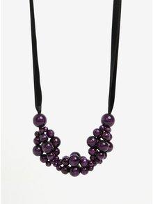 Čierno-fialový drevený náhrdelník KO-RA-LE Wav