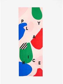 Modro-růžová podložka na cvičení s potiskem ban.do Play Nice