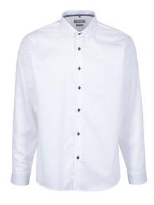 Bílá pánská formální košile s modrými knoflíky Seven Seas