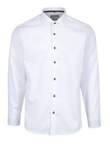 Bílá pánská formální košile s hnědými knoflíky Seven Seas