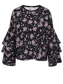 Černá květovaná mikina s volány na rukávech Juicy Couture