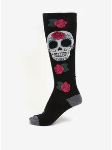 Ciorapi negri peste genunchi cu print craniu pentru femei - Sock It to Me Sugar skull