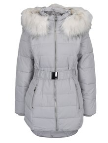 Světle šedá prošívaná bunda s umělým kožíškem Miss Selfridge