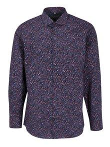 Červeno-modrá pánska kvetovaná formálna košeľa Seven Seas Vermont