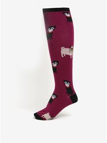 Fialové dámske vzorované podkolienky Sock It to Me Pug Life