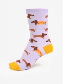 Hořčicovo-fialové dámské vzorované ponožky Sock It to Me Hot Dogs