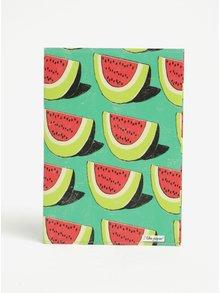 Zelený zápisník s motivem melounů I Like Paper A5