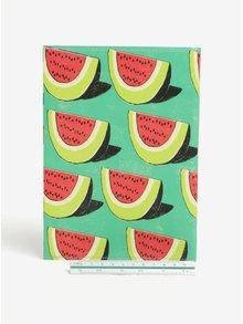 Zelený zápisník s motívom melónov I Like Paper A5