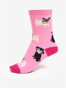 Růžové dámské vzorované ponožky Sock It to Me Pink Pugs