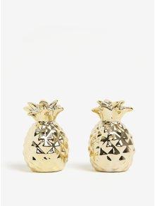 Solnička a pepřenka ve tvaru ananasu ve zlaté barvě Sass & Belle