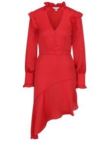 Červené asymetrické šaty s volánmi Miss Selfridge