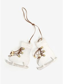 Bílá dřevěná vánoční dekorace ve tvaru bruslí Sass & Belle