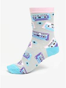 Šedo-tyrkysové dámské vzorované ponožky Sock It to Me Mixtapes