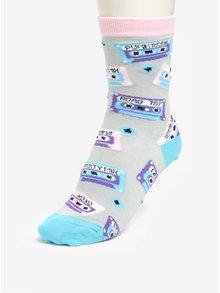 Sosete gri & turcoaz cu print pentru femei -  Sock It to Me Mixtapes