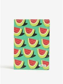 Zelené pouzdro na cestovní doklady s motivem melounů I Like Paper