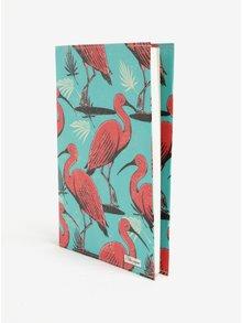 Carnetel A5 handmade turcoaz cu print flamingo -  I Like Paper A5