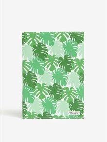 Zelený zápisník s motivem listů I Like Paper A6