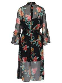 Rochie neagra cu print floral si maneci clopot transparente Miss Selfridge