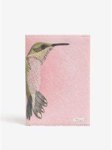 Růžový zápisník s motivem kolibříka I Like Paper A6