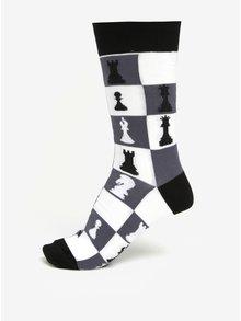 Šedo-bílé pánské vzorované ponožky Sock It to Me Checkmate