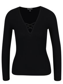 Bluza neagra cu dungi in relief si barete incrucisate Miss Selfridge